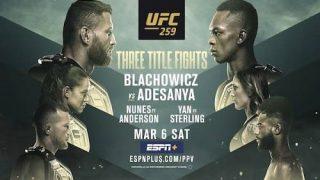Watch UFC 259: Blachowicz vs. Adesanya 3/6/21 Full Show